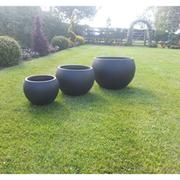 Barnstone Garden Pot Set - 1 set of 3 pots (stone)