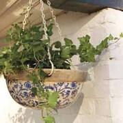 Blue and White Ceramic Hanging Basket - Gift - 2 hanging baskets