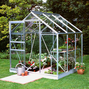 Halls Popular 6ft x 6ft Wide Greenhouse + FREE Products Included - 1 x Greenhouse 6ft x 6ft (Green Aluminium / Polycarbonate Glazing)