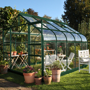 Halls Supreme 10ft x 8ft Double Door Greenhouse - 1 x Greenhouse 10ft x 8ft (Green Aluminium / Horticultural Glass)