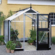 Juliana Compact Greenhouse (7ft x 5ft) + FREE Products Included - 1 x Greenhouse in Black Aluminium (6mm polycarbonate glass sheets)