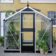 Juliana Compact Greenhouse (7ft x 7ft) + FREE Products Included - 1 x Greenhouse in Black Aluminium (3mm toughened glass)
