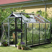 Juliana Compact Greenhouse (7ft x 9ft) - 1 x Greenhouse in Black Aluminium (6mm polycarbonate glass sheets)