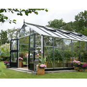 Juliana Gardener Greenhouse (12ft x 14ft) + FREE Products Included - 1 x Greenhouse in Black Aluminium (6mm polycarbonate glass sheets)