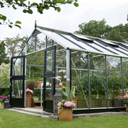 Juliana Gardener Greenhouse (12ft x 16ft) + FREE Products Included - 1 x Greenhouse in Black Aluminium (6mm polycarbonate glass sheets)