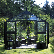 Juliana Premium Greenhouse (9ft x 12ft) - 1 x Greenhouse in Black Aluminium (6mm polycarbonate glass sheets)
