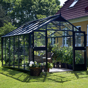 Juliana Premium Greenhouse (9ft x 14ft) + FREE Products Included - 1 x Greenhouse in Black Aluminium (6mm polycarbonate glass sheets)