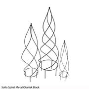 Sofia Spiral Metal Obelisk (Black) - 1 small obelisk (black)