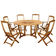 Henley 7 Piece Round Dining Set with Henley Highback Folding Armchairs - 1 x 7 piece dining set