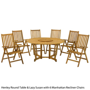 Henley 7 Piece Round Dining Set with Camelot Recliner Chairs - 1 x 7 piece dining set with camelot chairs