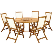 Henley 7 Piece Round Dining Set with Henley Recliner Chairs - 1 x 7 piece dining set