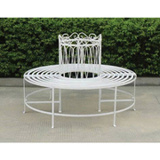 Full Round Tree Bench - 1 full round tree bench (antique white)