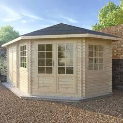 5m x 3m RS Corner Lodge+ 28mm Double Glazed