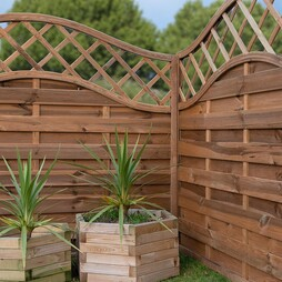 Horizontal Weave with Wavy Trellis 1800mm x 1200mm Pressure Treated