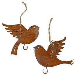 Pair Bird Hanger Ornaments Rusty Vintage Metal Birds for Garden or Home
