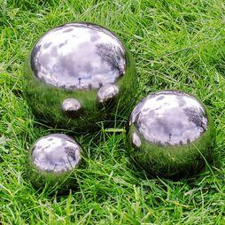 3 Garden Spheres 5.5, 9, 15cm Stainless Steel Mirror Sphere Garden Ornament Set