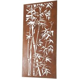 Bamboo Design 2mm Core-Ten Steel Rustic Metal Screen 1.8m tall