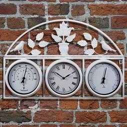 Garden Wall Clock & Weather Station (Cream) - Gift
