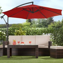Garden Gear Cantilever Parasol Red With Cover