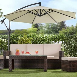 Garden Gear Cantilever Parasol Cream With Cover