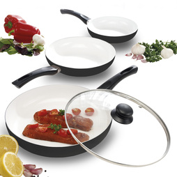 Cooks Professional 3 Piece Ceramic Frying Pan Set Black