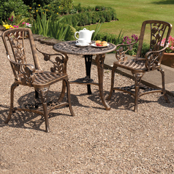 ThreePiece Rose Armchair Bistro Set Bronze