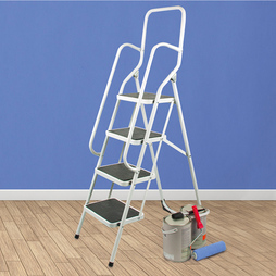 4 Step Ladder With Hand Rails White