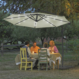 Solar Led Parasol - Cream