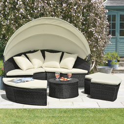 Rattan Day Bed with Table Black