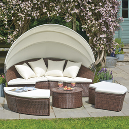 Rattan Day Bed with Table Brown