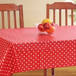 PVC Tablecloth 54 x 70 Red Polka Dot