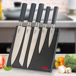 Cooks Professional Five Piece Knife Set with Magnetic Block