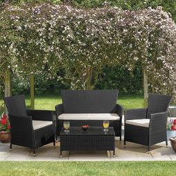 4 Piece St Lucia Rattan Set - Black