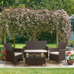 4 Piece St Lucia Rattan Set - Brown