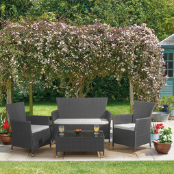 4 Piece St Lucia Rattan Set - Grey