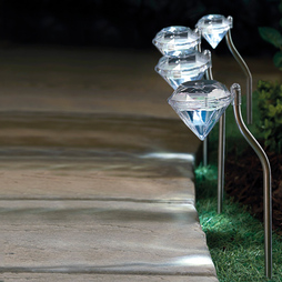 Set Of 4 Solar Diamond Lights