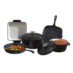 Cooks Professional Five Piece Cast Iron Set Black
