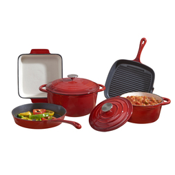 Cooks Professional Five Piece Cast Iron Set Red