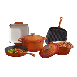 Cooks Professional Five Piece Cast Iron Set Orange
