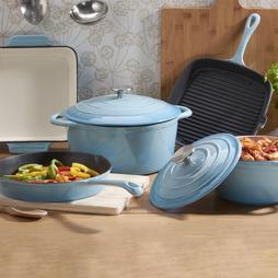 Cooks Professional Five Piece Cast Iron Set Blue