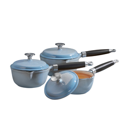 Cooks Professional Three Piece Cast Iron Saucepan Set Blue
