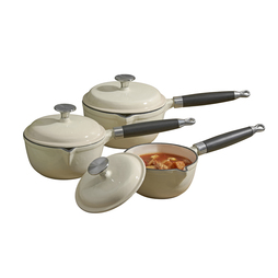 Cooks Professional Three Piece Cast Iron Saucepan Set Cream