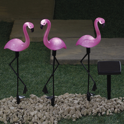 Set of Three Flamingo Solar Lights