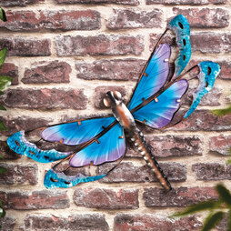 Metal & Glass Dragonfly Wall Art - Gift