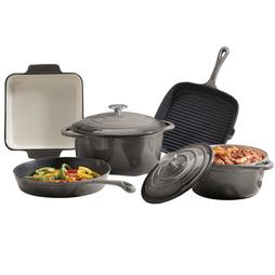 Cooks Professional Five Piece Cast Iron Set Grey