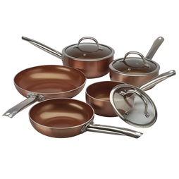 Cooks Professional Copper Effect Ceramic Pans 3 Piece saucepan set Copper Interior and Exterior