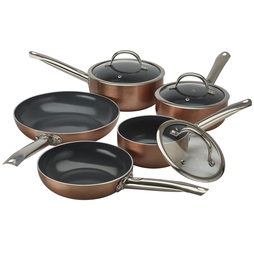 Cooks Professional Copper Effect Ceramic Pans 3 Piece saucepan set Copper Outer/Grey Interior