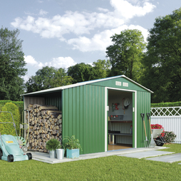 Log Store Metal Shed 11.2X8.4Dark Green