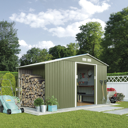 Log Store Metal Shed 11.2X6.3Light Green