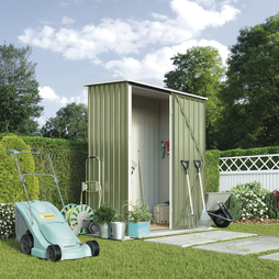 Waltons Compact Pent Metal Shed 4.7X2.9ft Light Green